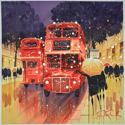 Bus Stop - London by Peter J Rodgers -  sized 20x20 inches. Available from Whitewall Galleries